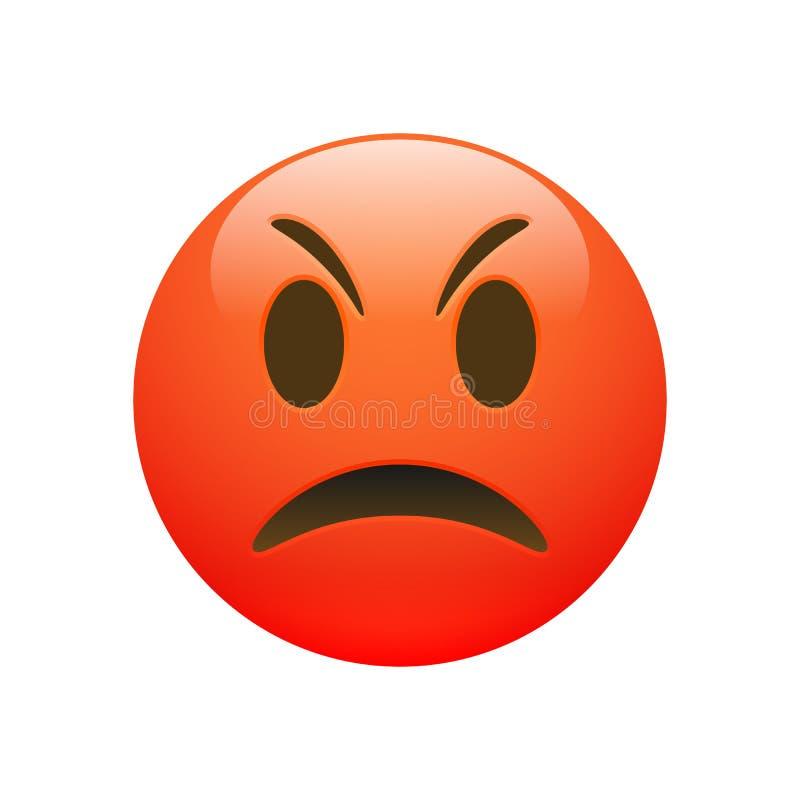 Wektorowa Emoji czerwona gniewna smutna twarz royalty ilustracja