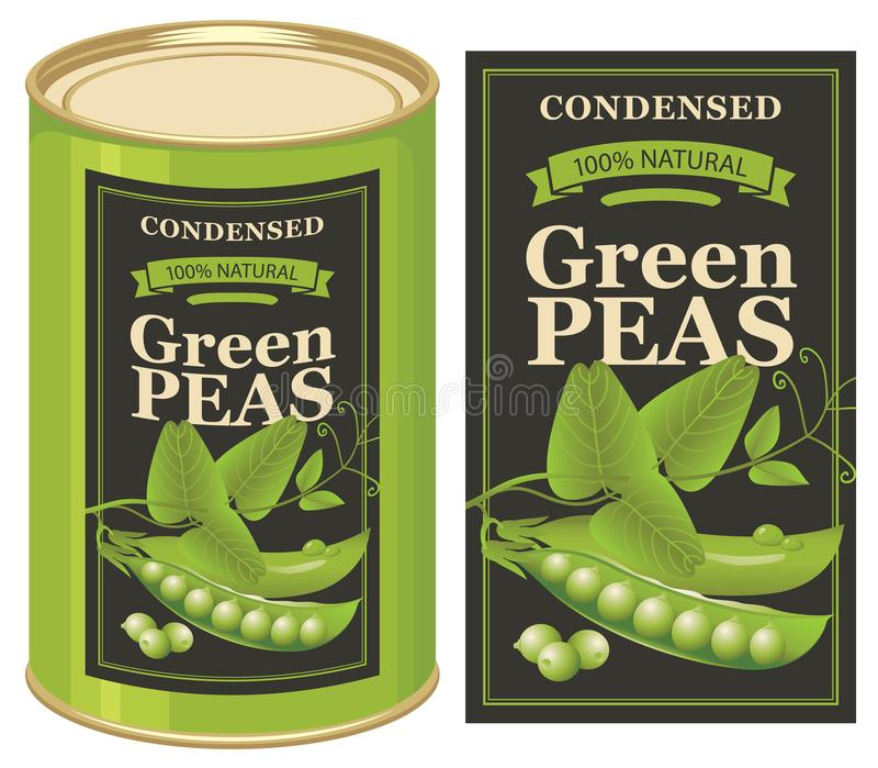 Wektorowa etykietka dla blaszanej puszki konserwować zieleni grochy ilustracja wektor