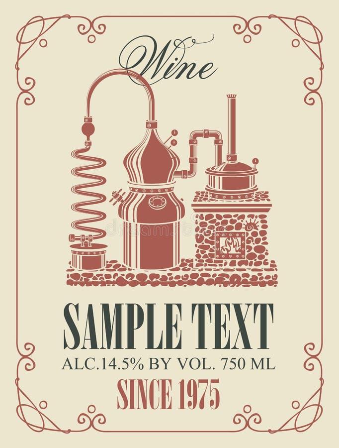 Wektorowa etykietka dla wina z retro wino produkcją ilustracji