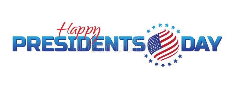 Wektorowa etykietka, logo lub sztandar Szczęśliwi prezydenci dni, - Krajowy amerykański wakacje Wektorowa ilustracja odizolowywaj royalty ilustracja