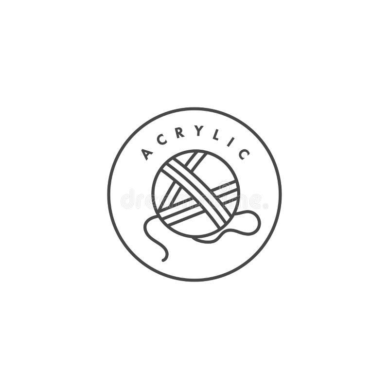 Wektorowa etykietka lub odznaka dla tkanin organicznie i naturalnych Symbol akrylowa etykietka dla odziewa royalty ilustracja