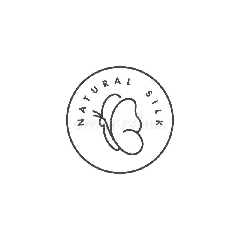 Wektorowa etykietka lub odznaka dla tkanin organicznie i naturalnych Symbol jedwabnicza etykietka dla odziewa Motylia ikona royalty ilustracja