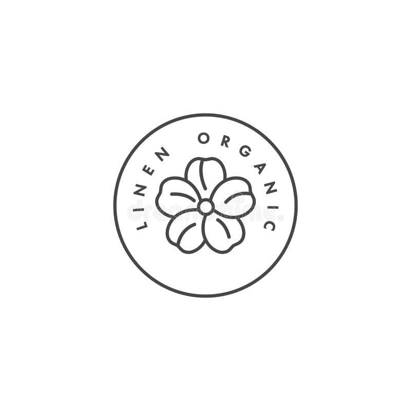 Wektorowa etykietka lub odznaka dla tkaniny organicznie i naturalnej Symbol bieliźniana etykietka dla odziewa ilustracji