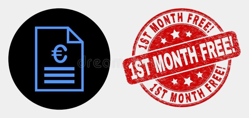 Wektorowa Euro ceny strony ikona i Grunge 1St miesiąc Uwalniamy! Watermark royalty ilustracja