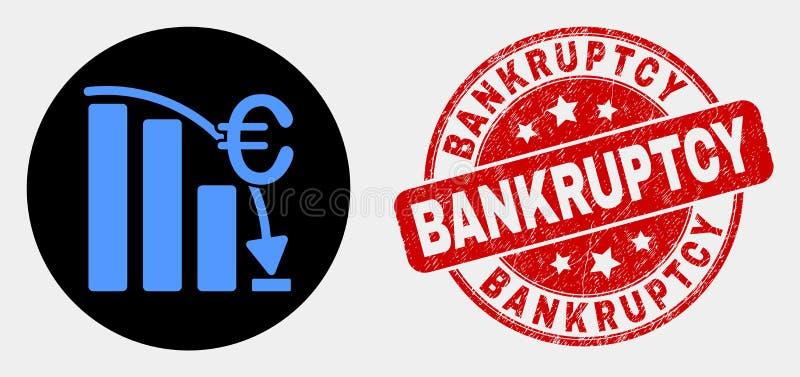Wektorowa Euro kryzys mapy ikona i Grunge Upadłościowa foka royalty ilustracja