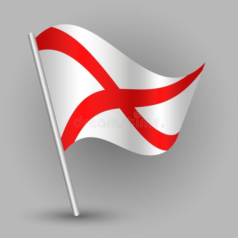 Wektorowa falowanie trójboka amerykańskiego stanu flaga na nachylającym srebnym słupie - ikona Alabama z metalu kijem ilustracja wektor