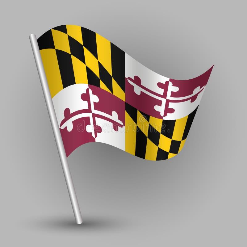 Wektorowa falowanie trójboka amerykańskiego stanu flaga na nachylającym srebnym słupie - ikona Maryland z metalu kijem ilustracji