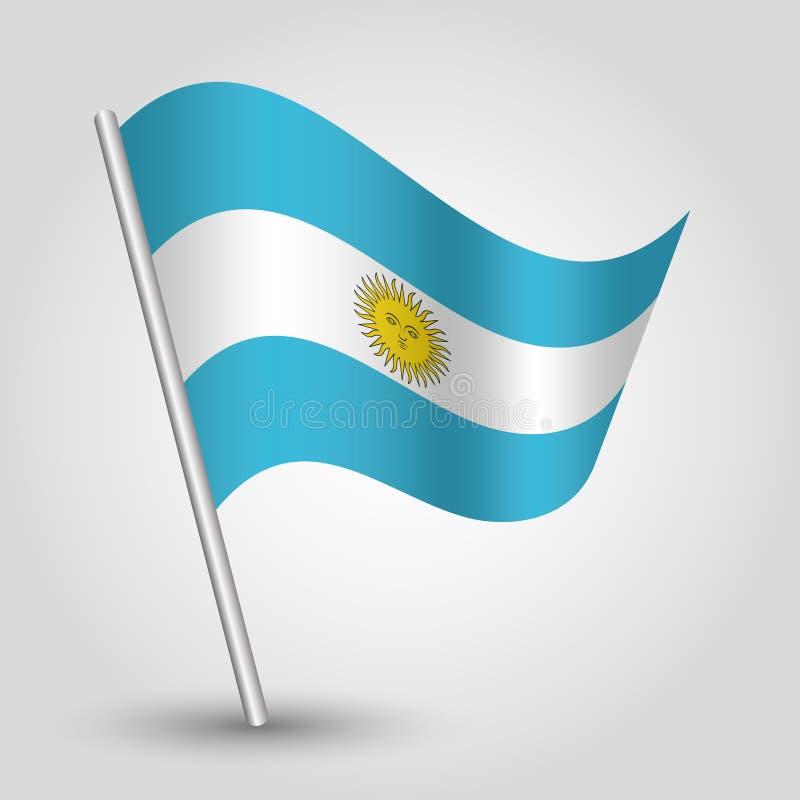 Wektorowa falowanie trójboka Argentine flaga na nachylającym srebnym słupie - ikona Argentina z metalu kijem royalty ilustracja