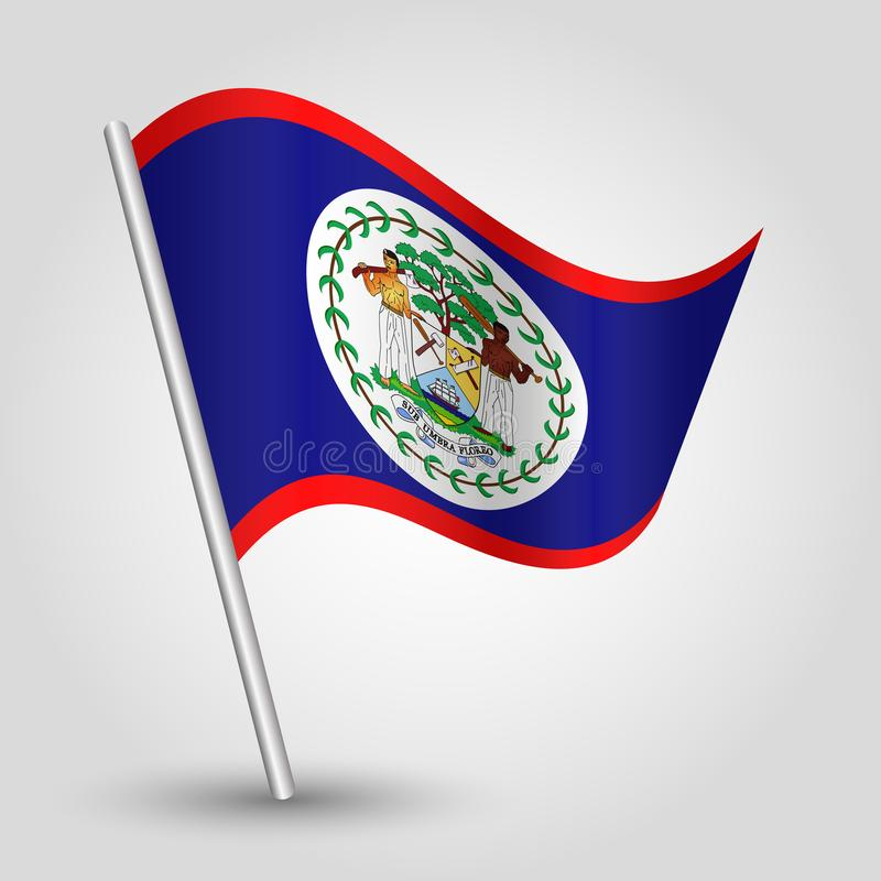 Wektorowa falowanie trójboka Belizean flaga na nachylającym srebnym słupie - symbol Belize z metalu kijem ilustracja wektor