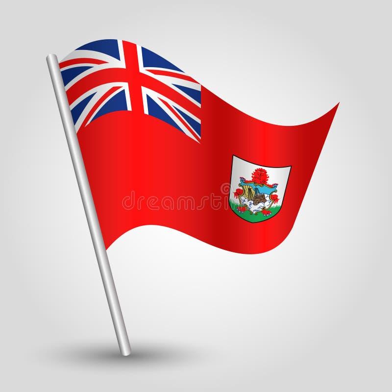 Wektorowa falowanie trójboka bermudian flaga na nachylającym srebnym słupie - symbol Bermuda z metalu kijem royalty ilustracja