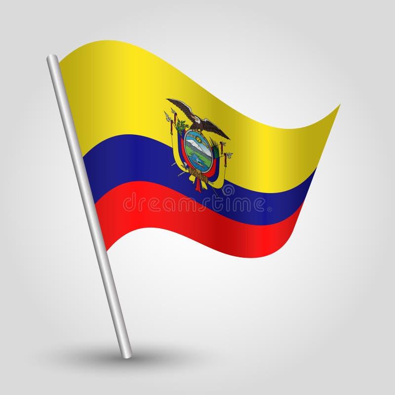 Wektorowa falowanie trójboka ecuadorian flaga na nachylającym srebnym słupie - symbol Ecuador z metalu kijem royalty ilustracja