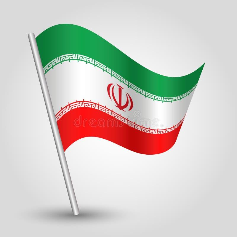 Wektorowa falowanie trójboka irańczyka flaga na nachylającym srebnym słupie - ikony islamska Iran z metalu kijem republika ilustracja wektor