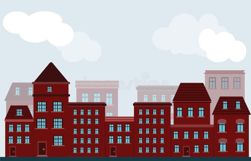 Wektorowa fasada budynki domy czerwony kolor na ulicie wewnątrz royalty ilustracja