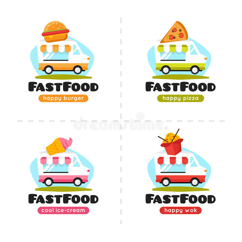 Wektorowa fast food ciężarówki loga kolekcja Pizzy, hamburgeru, lody i wok ulicy kawiarnia, ilustracja wektor