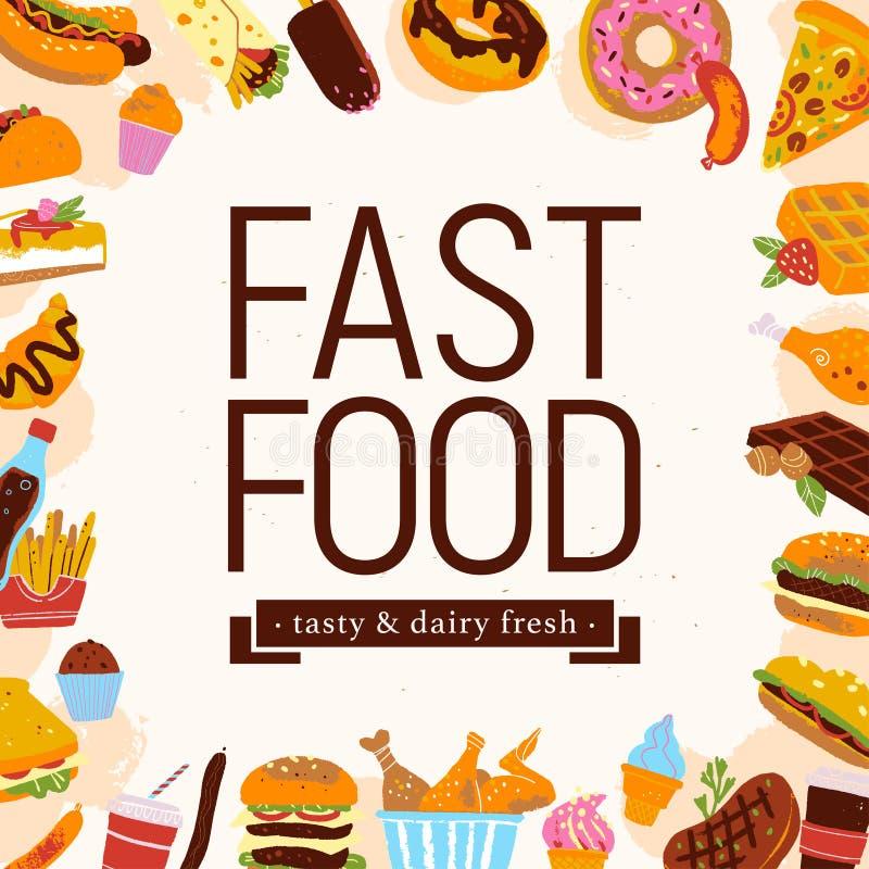 Wektorowa fast food ramy ilustracja z szybkie żarcie menu rzeczami - hamburger, pizza, desery, hot dog, etc na świetle textured t ilustracja wektor