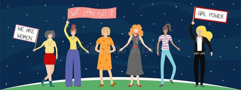 Wektorowa feministyczna ilustracja Dziewczyny władzy plakat Dziewczyny mogą robić cokolwiek ilustracja wektor