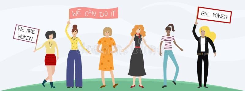 Wektorowa feministyczna ilustracja Dziewczyny władzy plakat Dziewczyny mogą robić cokolwiek royalty ilustracja