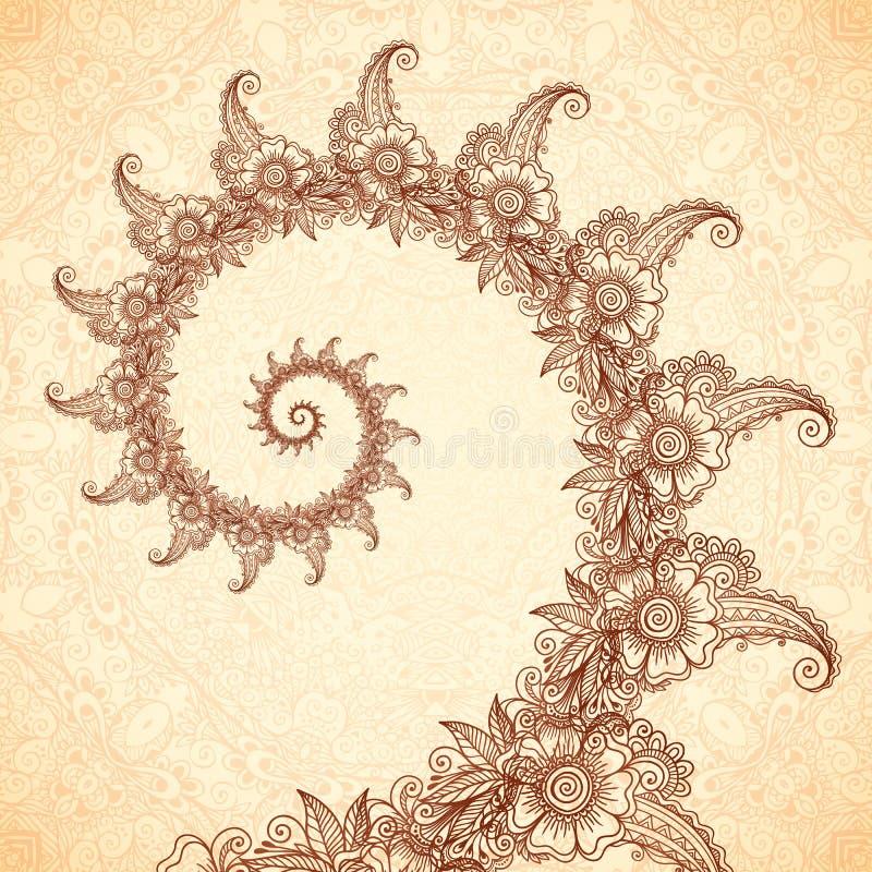 Wektorowa fractal spirala w henna tatuażu stylu royalty ilustracja
