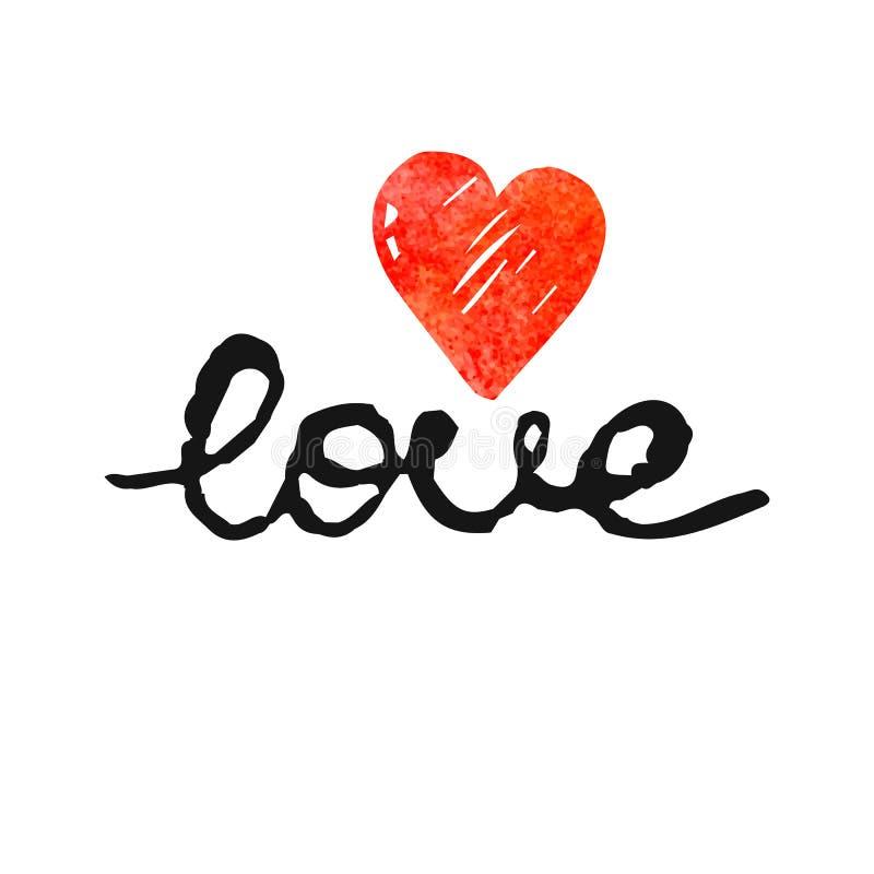 Wektorowa freehand list miłość z sercem, tekst doodles, valentines dzień royalty ilustracja
