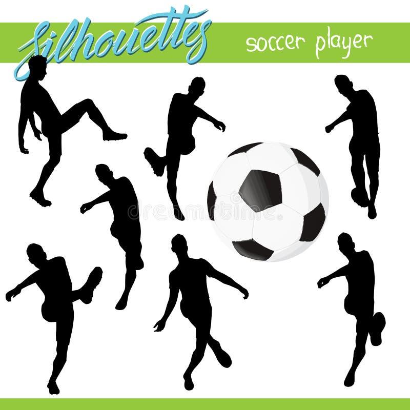 Wektorowa futbolowa piłki nożnej piłka z gracz sylwetkami royalty ilustracja