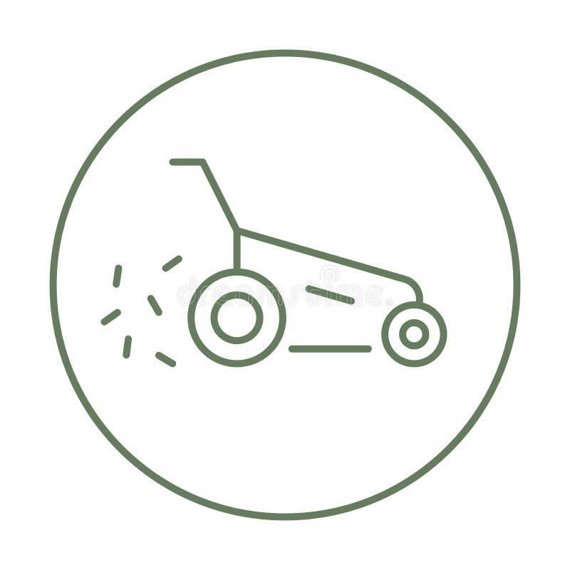 Wektorowa gazonu kosiarza ikona z modnym kreskowej sztuki stylem Kośby trawy liniowy znak ilustracja wektor