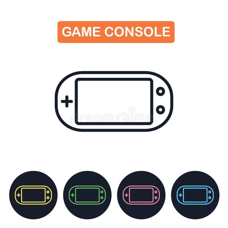 Wektorowa gemowa konsoli ikona Gamepad imaige Prosty cienieje kreskowego desi ilustracji