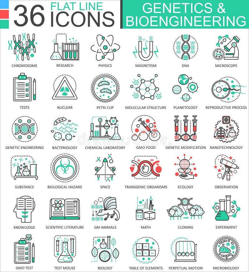 Wektorowa genetyka i biochemii mieszkania linia zarysowywa ikony dla apps i sieć projekta Genetyki substancja chemiczna nowoczesn royalty ilustracja