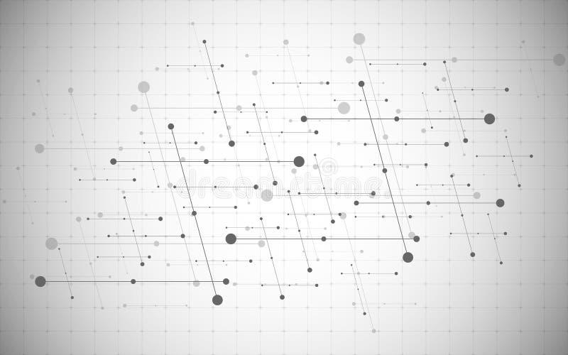 Wektorowa globalna kreatywnie ogólnospołeczna sieć Abstrakcjonistyczny poligonalny tło z liniami i kropkami royalty ilustracja