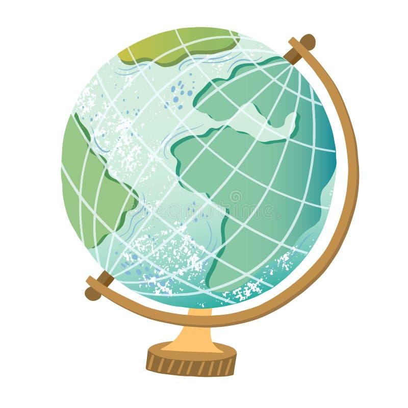 Wektorowa globus ilustracja Ziemska kuli ziemskiej ikona ilustracji