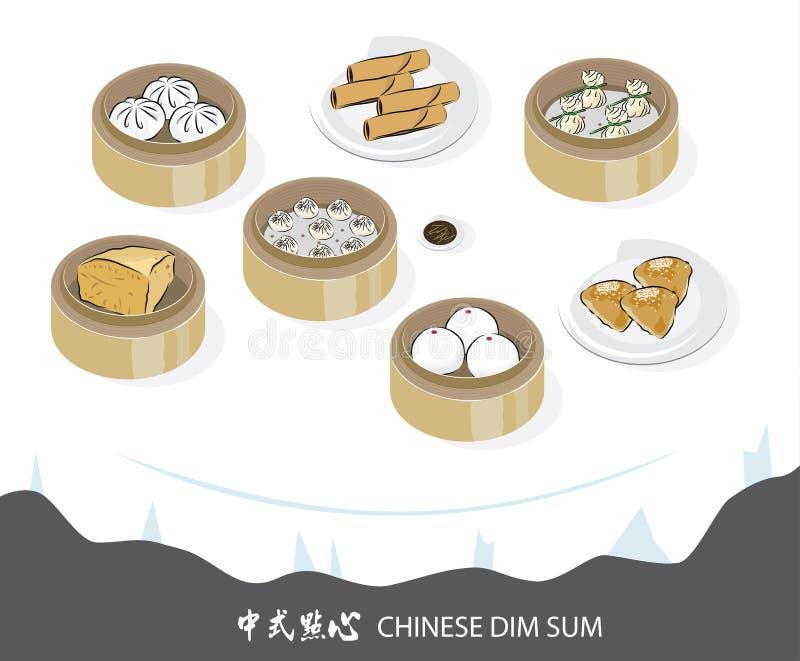 Wektorowa grafika chińczyk Dimsum ilustracja wektor