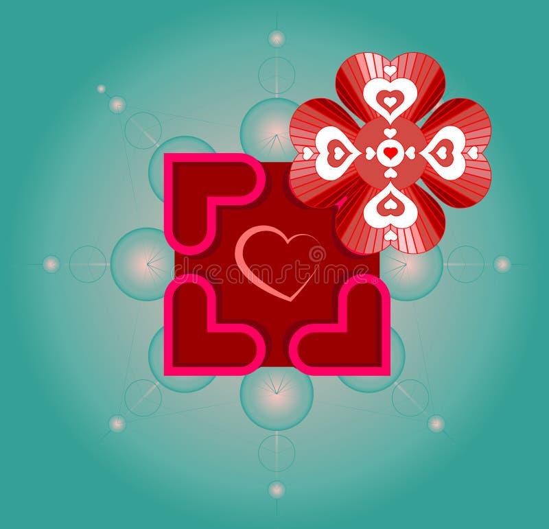 Wektorowa grafika dla walentynka dnia z use święci geometria symbole, kwiat życie i serca, royalty ilustracja