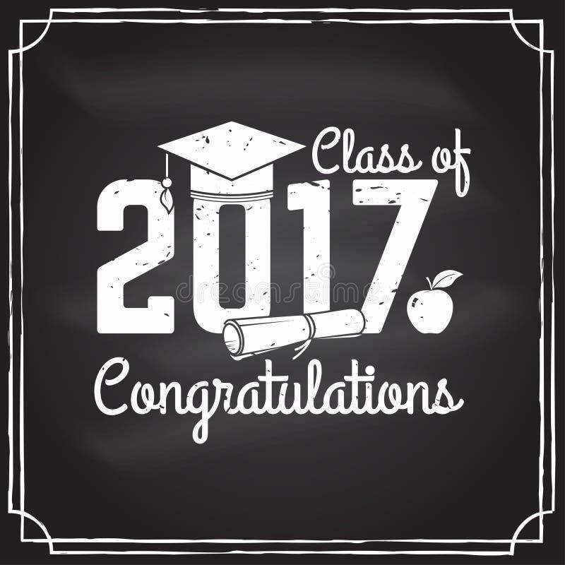 Wektorowa gratulacje absolwentów klasa 2017 odznaka ilustracja wektor