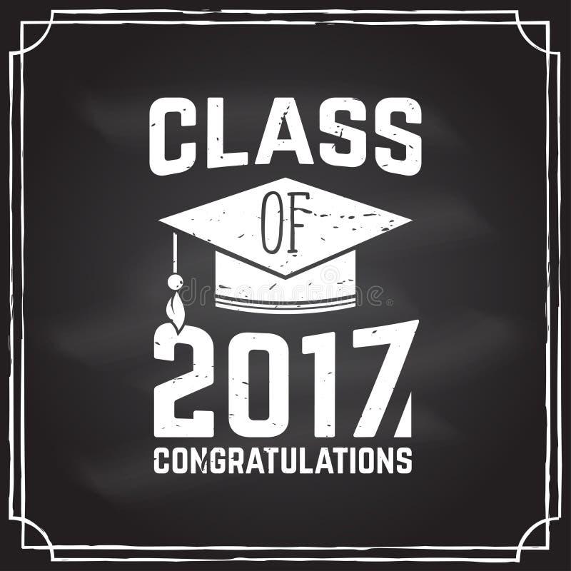 Wektorowa gratulacje absolwentów klasa 2017 odznaka ilustracji