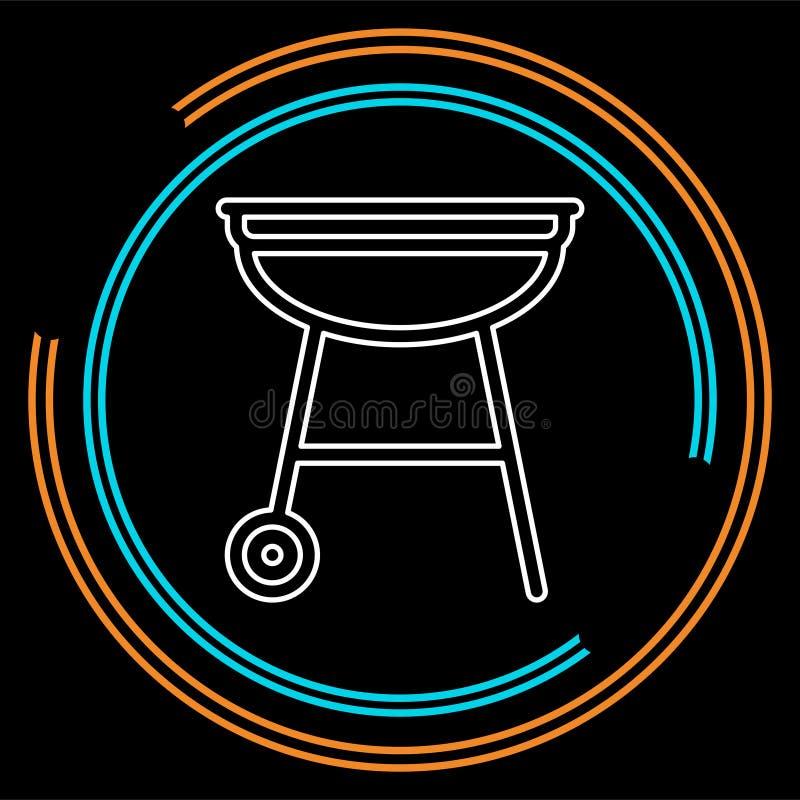 Wektorowa grilla bbq menu ikona, kulinarny mięso ilustracji