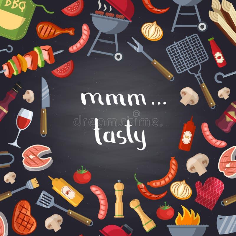 Wektorowa grilla lub grilla ilustracja z kulinarnymi elementami na chalkboard ilustracji