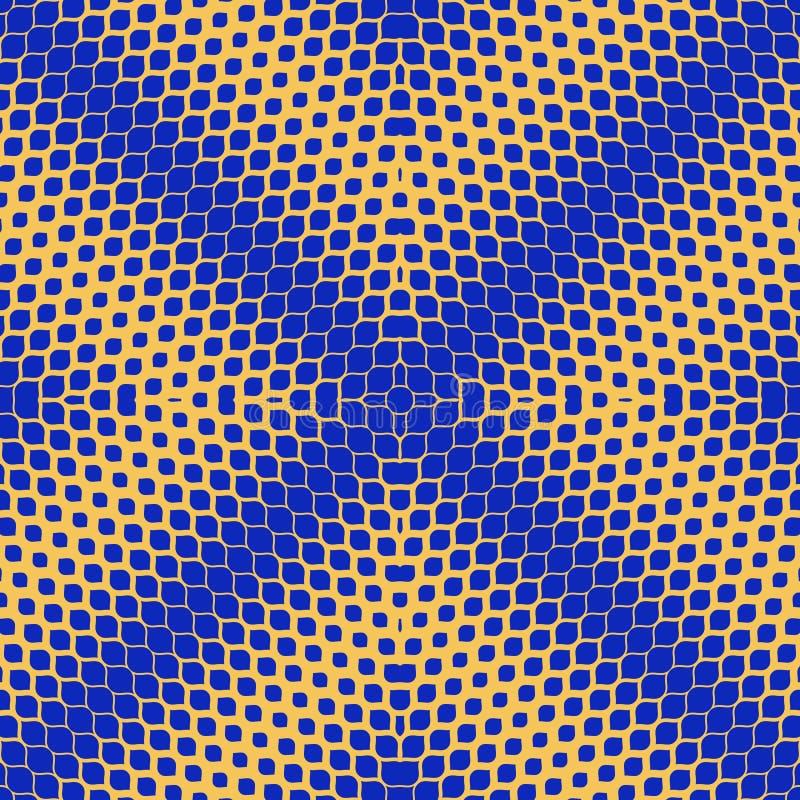 Wektorowa Halftone tekstura Jaskrawy błękitny i żółty geometryczny bezszwowy wzór ilustracja wektor