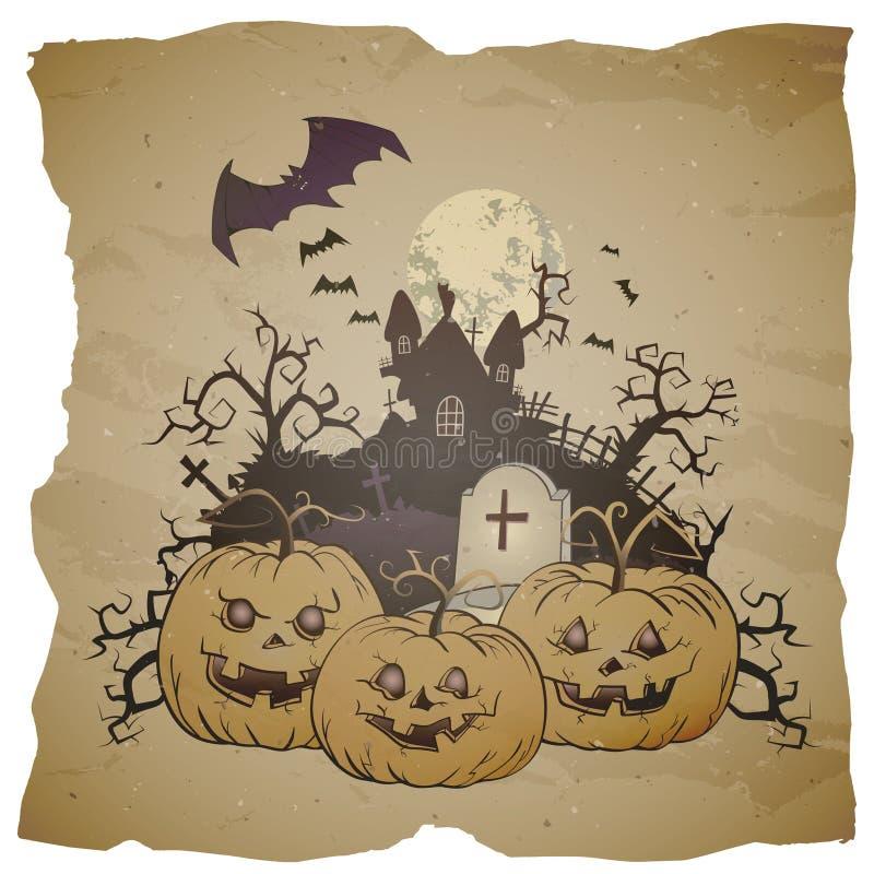Wektorowa Halloweenowa ilustracja z uśmiechający się baniami royalty ilustracja