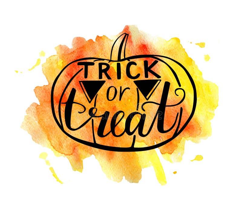 Wektorowa Halloweenowa literowanie ilustracja z akwareli plamą ilustracja wektor