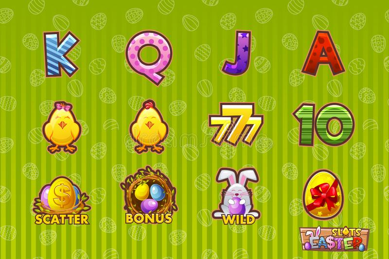 Wektorowa hazard ikona Wielkanocni symbole dla automatów do gier, kasyno i loteria lub Kreskówka ustawia 12 paschal ikony Gemowy  royalty ilustracja
