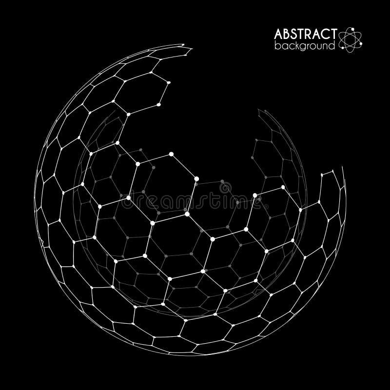 Wektorowa heksagonalna siatka łamająca sfera odizolowywająca na czerni ilustracji