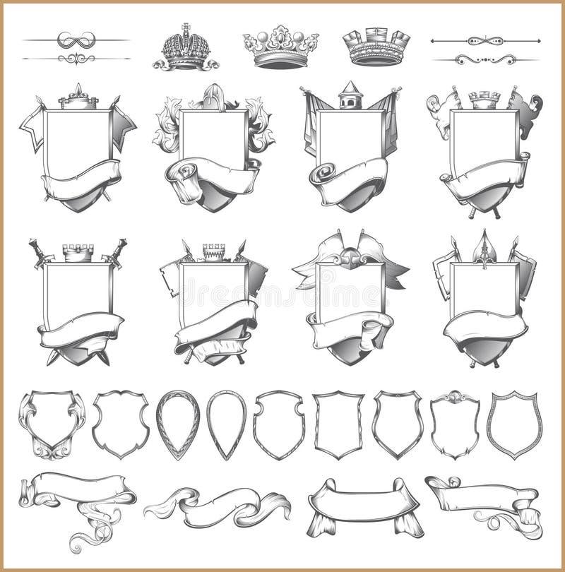 Wektorowa heraldyczna element kolekcja i żakiet ręka szablon ilustracji