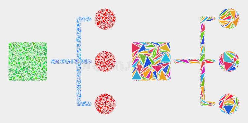 Wektorowa hierarchii mozaiki ikona trójbok rzeczy ilustracji