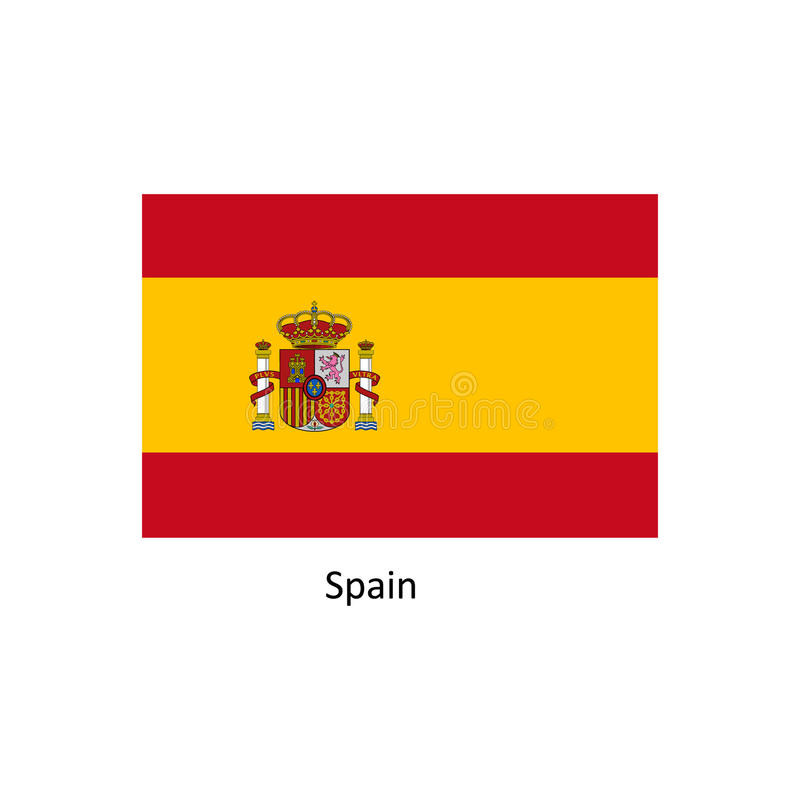 Wektorowa Hiszpania flaga, Hiszpania chorągwiana ilustracja, Hiszpania flaga obrazek ilustracja wektor