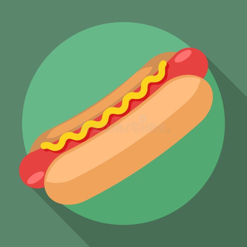 Wektorowa hot dog ikona ilustracji