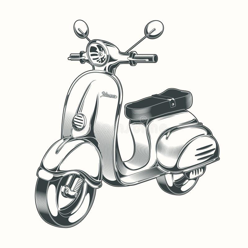 Wektorowa hulajnoga, moped rysujący w czarnym atramencie ilustracja wektor