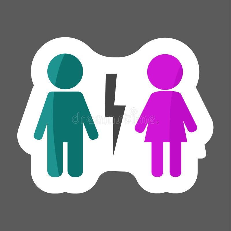 Wektorowa ikona Barwiąca majcher rozwodząca się para Mężczyzna i kobiety cha ilustracja wektor