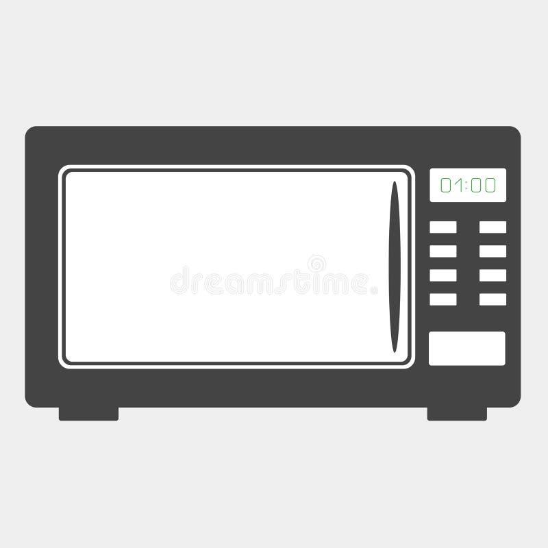 Wektorowa ikona czarny mikrofala piekarnik na białym tle Hom ilustracji