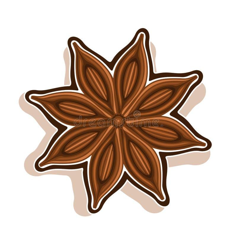Wektorowa ikona dla Gwiazdowego anyżu ilustracji