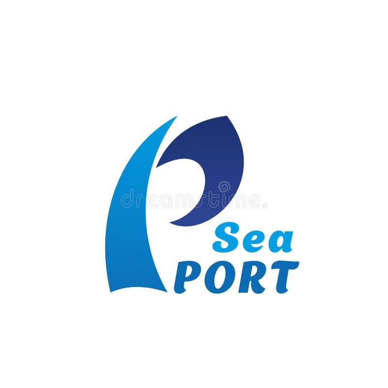Wektorowa ikona dla portu morskiego listu P fala ilustracja wektor