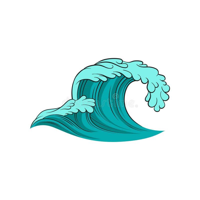 Wektorowa ikona fryzowania morza fala Ocean błękitny Woda Kreskowej sztuki kolorowa ilustracja Aqua temat ilustracji